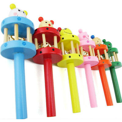Wooden Handbell Cartoon Animal Jingle Toy Musical Instrument For Baby Kids FT