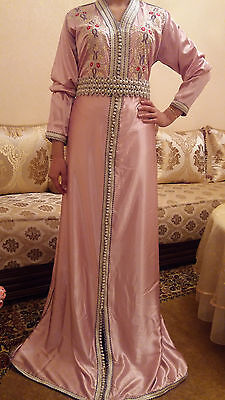 HAND EMBROIDED PINK SATIN MOROCCAN WEDDING CAFTAN with BEAUTIFUL BELT