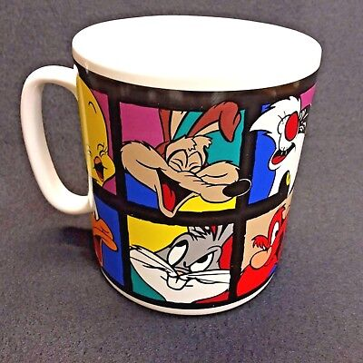 "Looney Tunes Mug Cup LARGE 32 oz. Warner Bros  1994 Multiple Characters 5"" Tall"