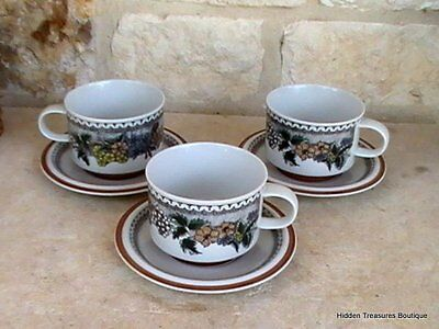 Goebel Burgund Country 3 Cups & Saucers Rust Yellow Blue Gray Floral Germany