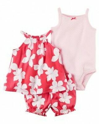 New With Tag Carter's Baby Girl 3 Piece Bubble Shorts Set Size 12 Months
