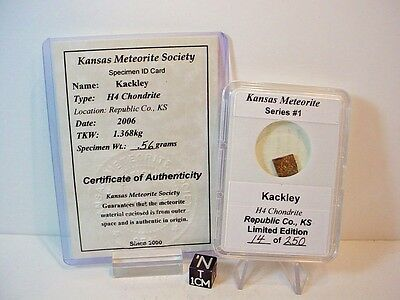 Limited Edition 14 of 250; 2006, Kackley Meteorite, Kansas USA, .56 grams