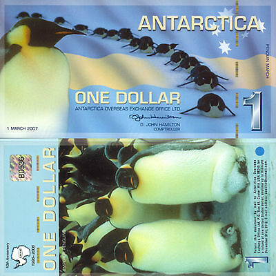Antarctica 1 Dollar (March 2007) - Penguin March