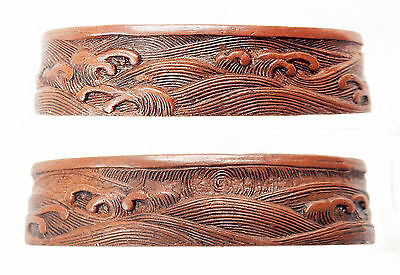 Antique Japanese Fuchi Copper Omori Waves Sword Fitting Tsuka Koshirae Samurai