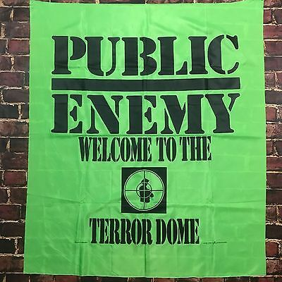 Vintage 1990 Public Enemy 'Terrordome' Banner Tapestry Poster 90s Rap 45inx38in