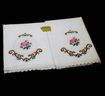 Vintage NEW old stock pair of embroidered & lace cotton pillowcases still in box