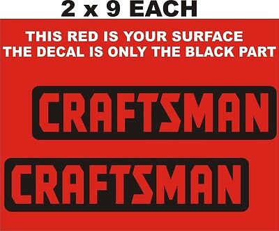 "2- Craftsman  Decals-Stickers- With  Cut Out Letters 2 "" X 9"" Each Black"