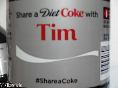Share a DIET COKE with TIM Collectible 20 oz Bottle RARE Coca-Cola HTF Name