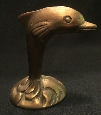 Vintage Brass Dolphin / Porpoise By Action ~ Original Sticker ~ Taiwan