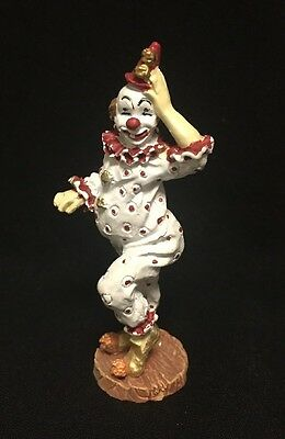 Vintage Metal Clown Figurine Toy Painted