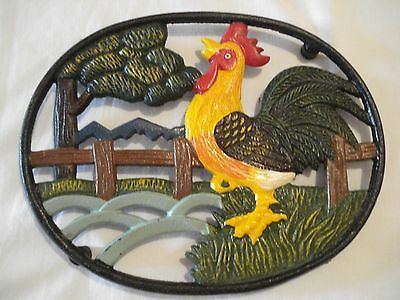 """Rooster Painted Metal Oval Cast Iron Kitchen Decor Trivet - Large size 8.5"""""""