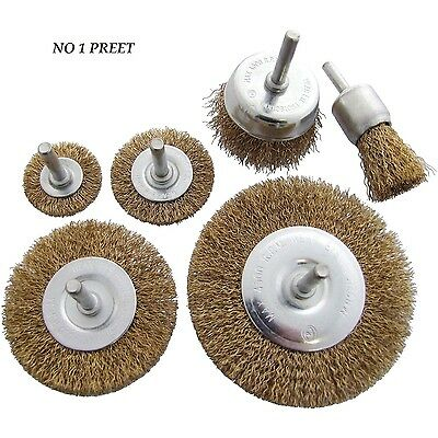6Pc Roatry Wire Wheel Set Brush Cup 6Mm Shrunk Rust Paint Weld Remover
