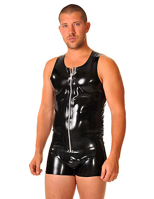 Latex Rubber by Libidex Vest  L  Black with Blue Trim