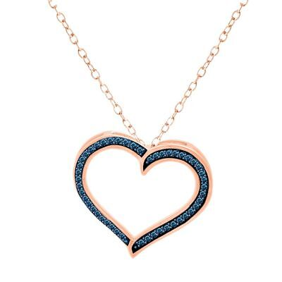 Blue Round Natural Diamond Heart Pendant 14K Rose Gold Over 925 Sterling Silver
