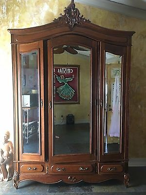 Antique French wood carved Armoire