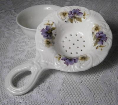 ALLYN NELSON COLLECTION TEA BAG STRAINER & BOWL w/ PURPLE FLOWERS