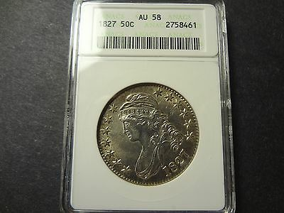 Us 1827 Capped Bust 50 / Fifty Cents, Scarce Date, Old Anacs Graded Au 58 !
