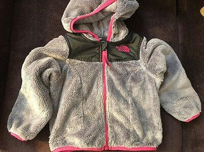 The North Face Full Zip Fuzzy Hoodie Jacket Coat Toddler Size 2T Gray & Pink