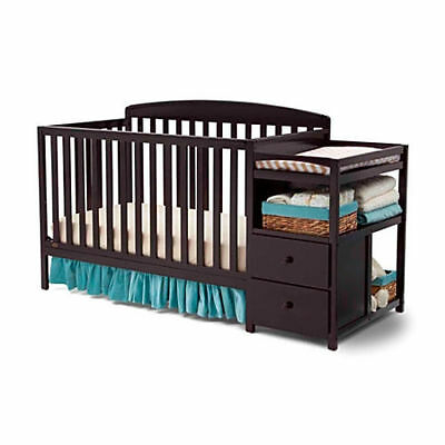 Delta Children Royal Convertible Crib N Changer, BROWN, TAX FREE!