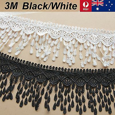 New 3M X 9cm Lace Fabric White Black Chiffon Trim Craft Polyester Cloth Flower