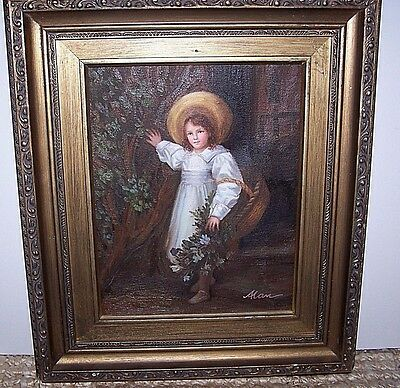 "Vintage Original Fine Art Oil Portrait Of A Child Framed Signed 8"" x 10"""