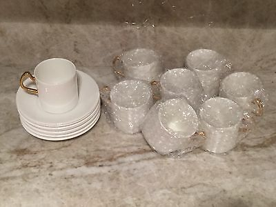 Coalport Demitasse/espresso Cups & Saucers White Bone China Gold Trim, 8 Set