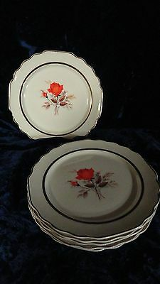 Vintage Lido W S George Paden Rose 22K Gold Trim 5 Dinner Plates USA