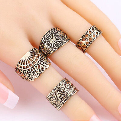 Fashion Vintage Midi Ring Set For Women Hollow Design Ancient Rings Punk Jewelry