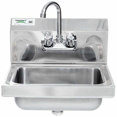 """17"""" x 15"""" Wall Mount NSF Hand Wash Sink Commercial Restaurant Stainless Steel"""