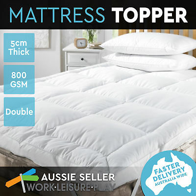 800GSM Luxury Mattress Topper Fibre Pillowtop Protector Top Bed Sleep Pad Double