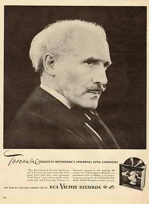 1940s vintage music ad, RCA Victor Records, Toscanini, great portrait! -021613