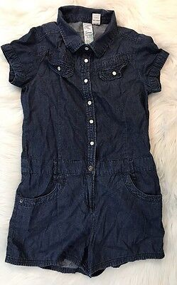 GUESS LOS ANGELES Girls Denim Chambray Jumpsuit Romper Tie Pearl Snap Outfit 12