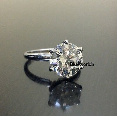 Round 4 Carat Lovely Off White Moissanite Engagement Ring 925 Sterling Silver