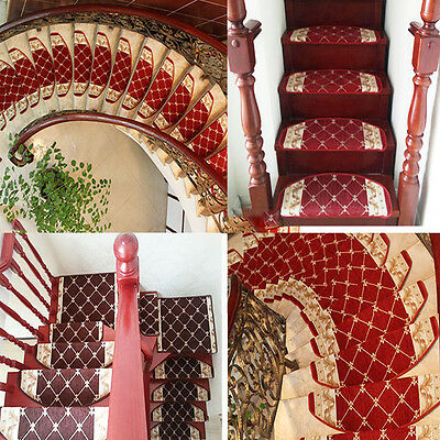13pcs Stair Tread Mats European Style Durable Carpet Non Slip Step Rug Floral