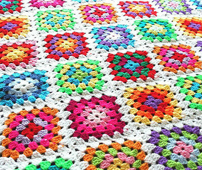 Handmade White and MultiColoured Granny Square Crochet Baby Blanket