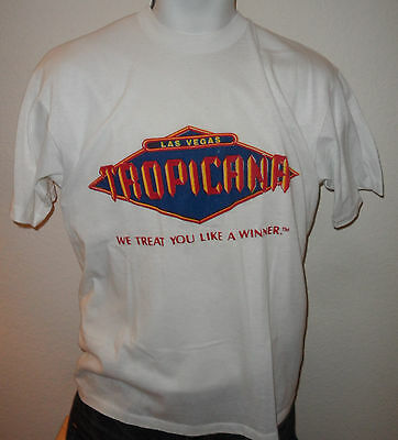 VINTAGE 80s LAS VEGAS TROPICANA CASINO HOTEL TREAT YOU LIKE A WINNER T SHIRT XL