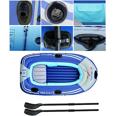 INFLATABLE FISHING BOAT DINGHY BOAT TENDER RIB Boat Oars Pump 2/3/4 Persons