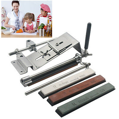 Professional Knife Sharpener Tool System Kitchen Fix-angle Sharpening+4 Silver