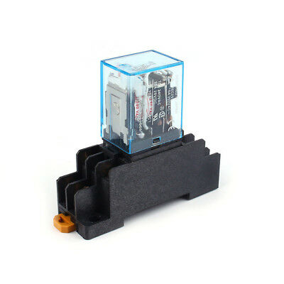 Black Coil 8 Pin Rail Power Relay With Socket Base DPDT AC 220V 10A Practical
