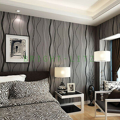 Modern Waving Stripe Pattern Wallpaper Wall 3D 10M Paper Cover House Office Cafe