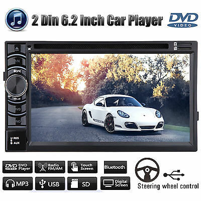 "6.2"" Head Unit Car Stereo Double 2Din DVD CD mp3 Player Bluetooth Radio USB SD"