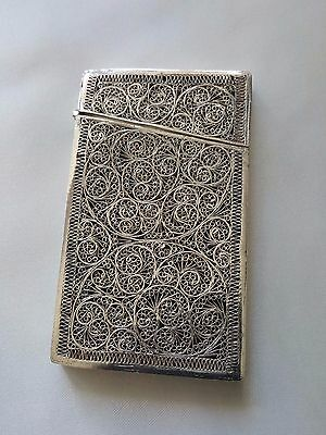 Stunning Antique Silver Filigree Card Case Intricate Floral Design Provenance