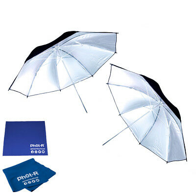 "Phot-R 2x 43"" Black & Silver Studio Reflector Umbrella Microfibre Chamois Cloth"
