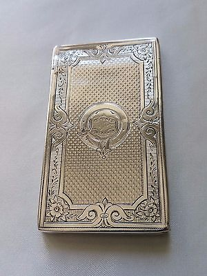 Stunning Antique Sterling Silver Card Case Intricate Geometric Design Birmingham