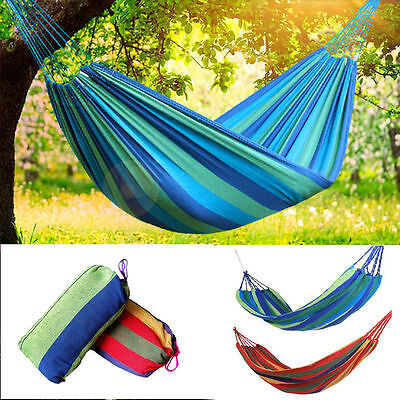 Portable Outdoor Cotton Rope Hanging Hammock Swing Fabric Camping Canvas Bed