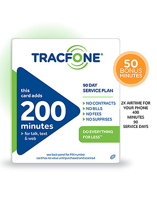 Tracfone 200 Minutes 90Day Plan Service Card