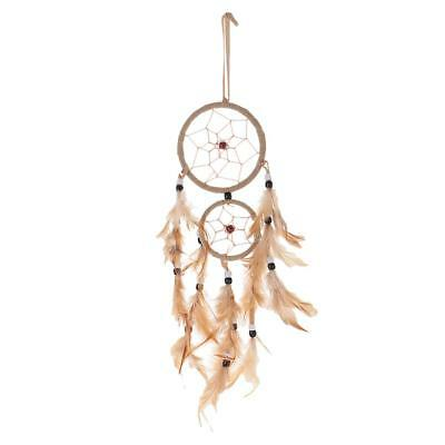 Traditionnel Beige Brown Red Dream Catcher Plumes Wall Car Hanging Ornamen