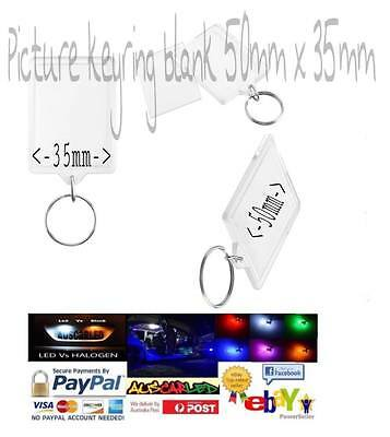 Blank PICTURE Acrylic Keyring 59x45mm Frame & 50x35mm Photo key ring plastic NEW