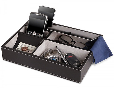 """10"""" Black Leatherette Valet Tray Organizer Cell Phone Jewelry Keys 5 Compartment"""