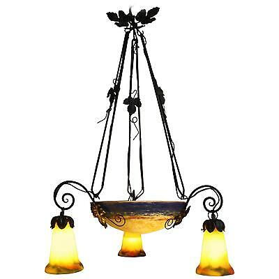 """French Art Deco Chandelier Signed G.V.Croismare 'Muller Freres"""" Iron and Glass"""